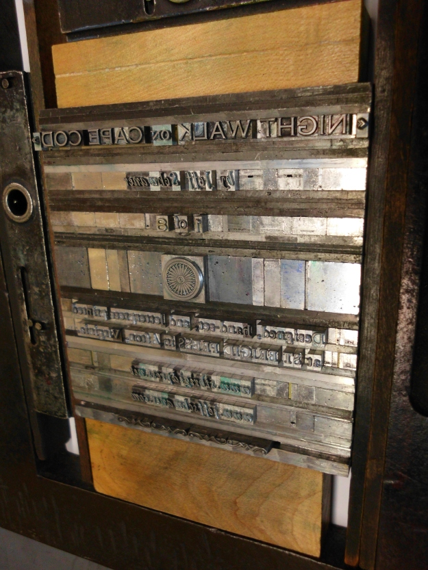 This jigsaw of metal type, wood and quoins (those locks that hold it tight)...